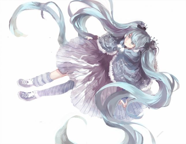 blue hair dress fuyu no yoru miku hatsune miku long hair ottmi socks twintails vocaloid wallpaper