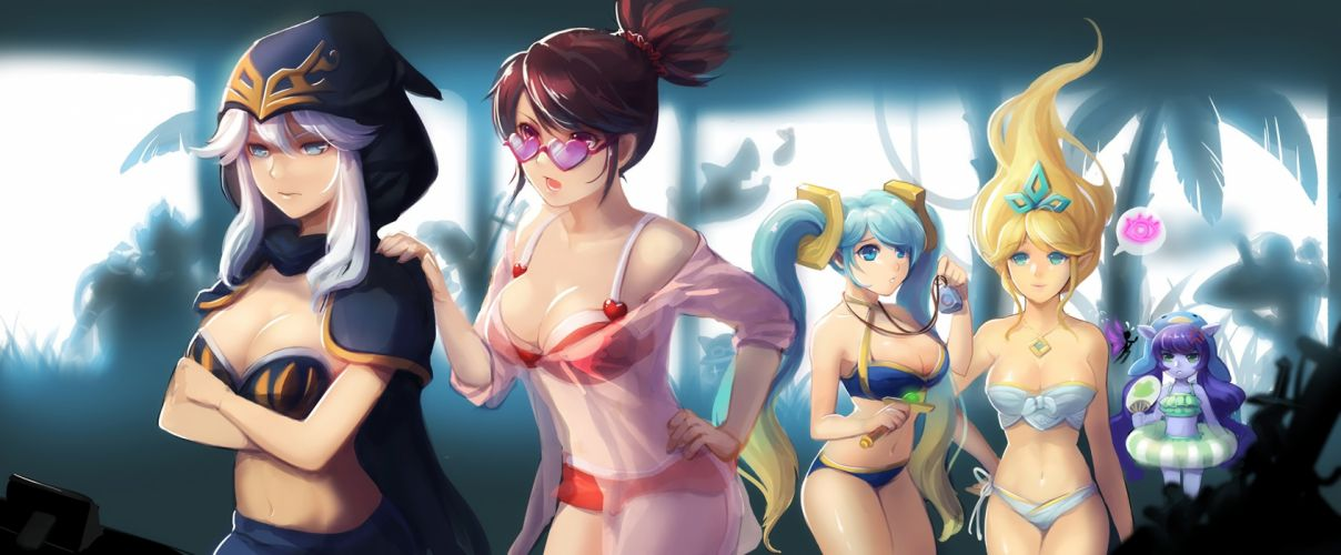 akali ashe bikini blue hair breasts cleavage dakun87 forest group janna loli long hair lulu necklace ponytail red eyes swim ring swimsuit tree waifu2x wallpaper