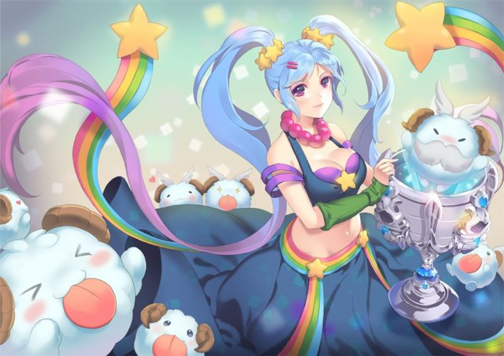 blue eyes blue hair blush breasts cleavage dakun87 league of legends long hair navel necklace purple eyes rainbow sona buvelle twintails waifu2x wallpaper