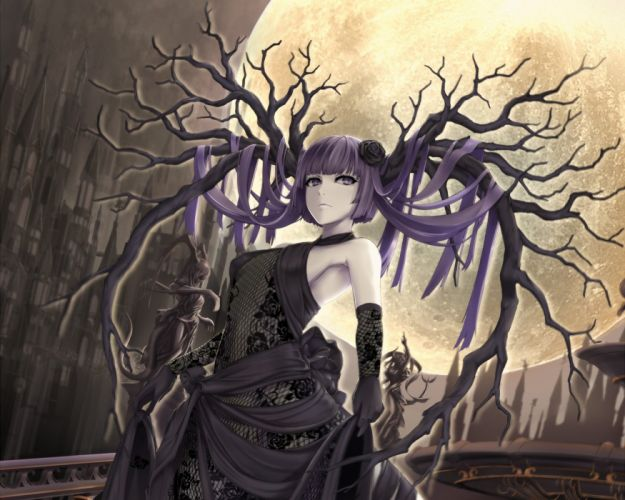 building cropped dress gothic moon original polychromatic purple hair wada masanori waifu2x yellow eyes wallpaper