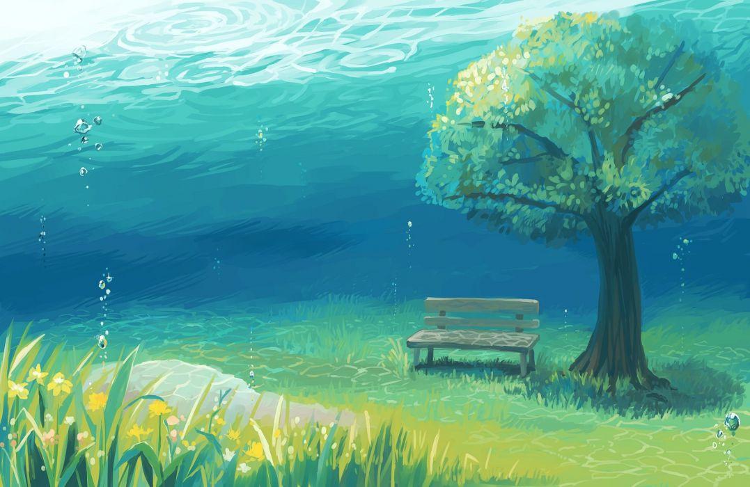 bubbles grass matsuki (mikipingpong) nobody original scenic tree underwater water wallpaper