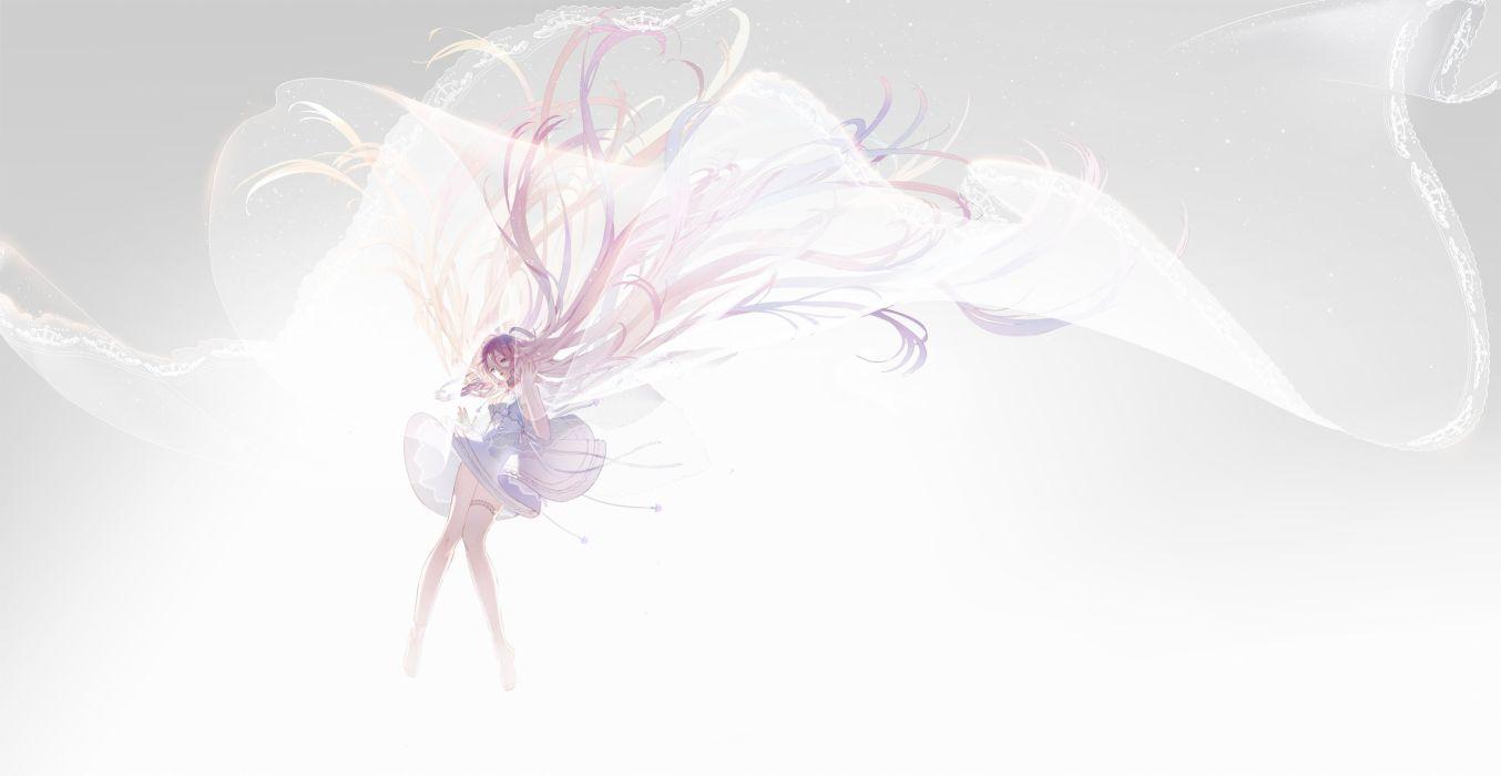 barefoot dress garter gray ia long hair pink hair vocaloid xiayu93 wallpaper