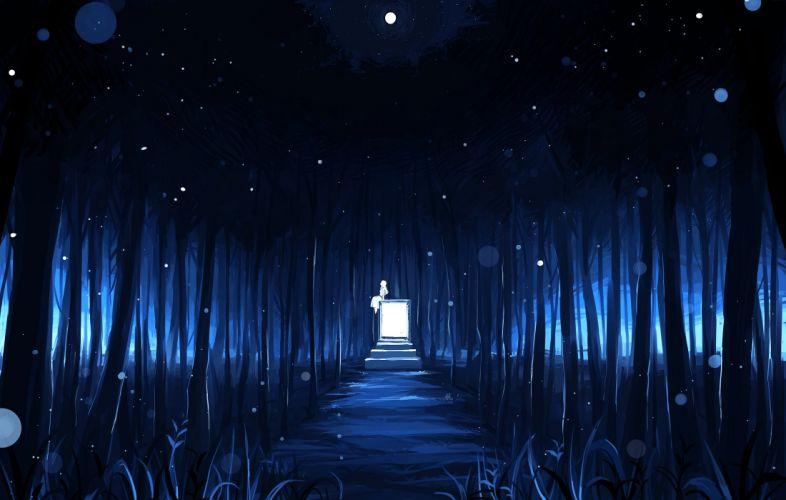 blue dark forest matsuki (mikipingpong) night original tree wallpaper