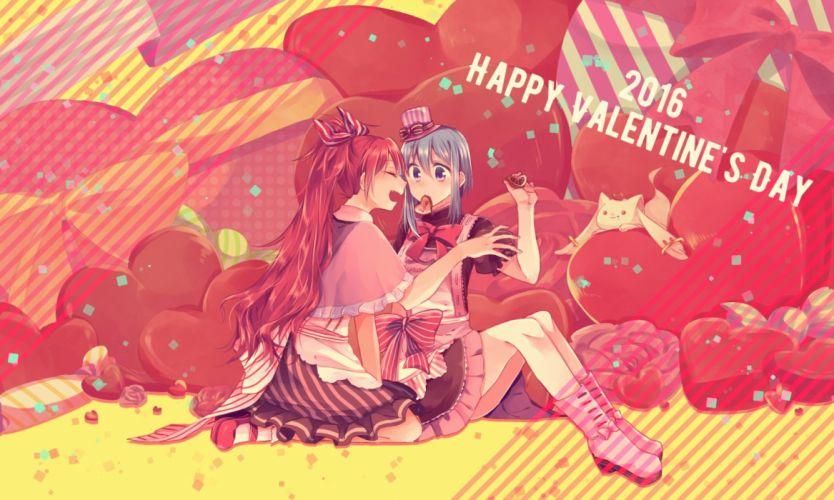 chocolate mahou shoujo madoka magica miki sayaka mizuki (flowerlanguage) sakura kyouko valentine wallpaper