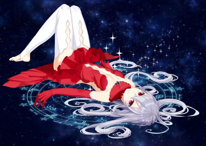 dress elbow gloves gloves gray hair long hair magic no bra original red eyes space stars thighhighs yusano wallpaper