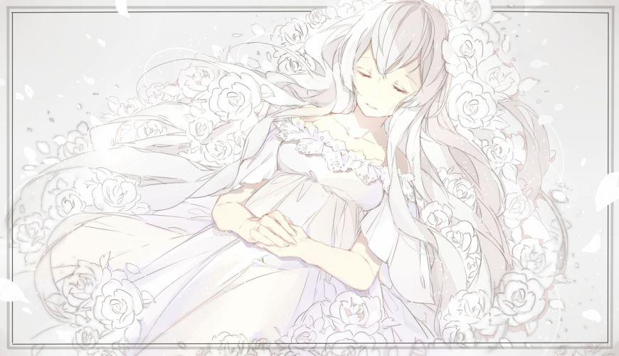 dress flowers miyuki (hananooni) original petals rose sleeping white white hair wallpaper