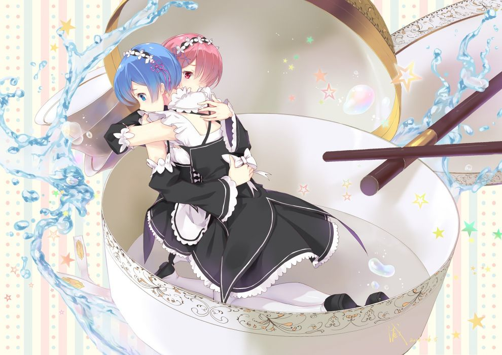 aqua eyes aqua hair headdress hug mad hatter (artist) maid pink eyes pink hair ram (re-zero) rem (re-zero) short hair twins wallpaper