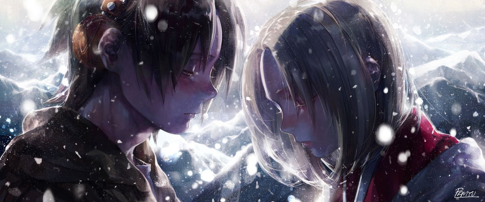 dualscreen headphones hei hwan kyoyama anna male shaman king short hair signed snow yoh asakura wallpaper