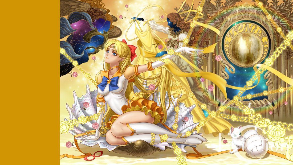 aino minako animal blonde hair blue eyes boots cat dress eclosion flowers gloves long hair rainbow ribbons rose sailor moon sailor venus yellow wallpaper