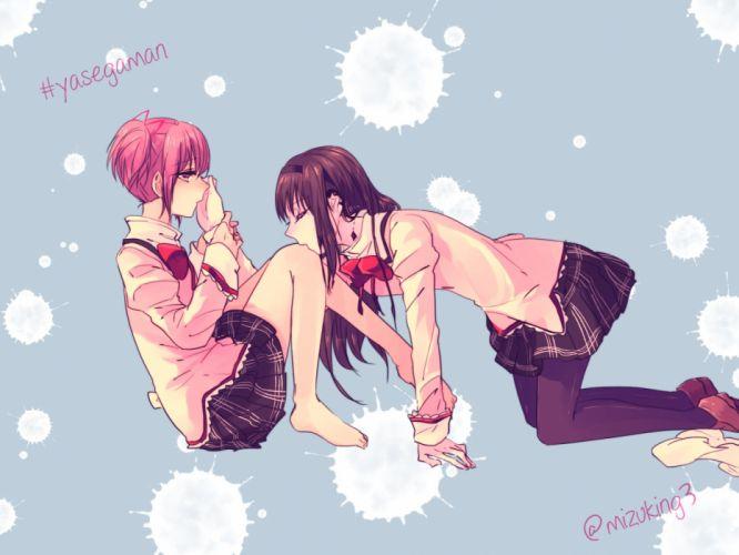girls akemi homura barefoot kaname madoka kiss mahou shoujo madoka magica mizuki (flowerlanguage) seifuku shoujo ai wallpaper