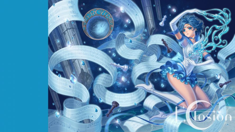 blue blue eyes blue hair boots eclosion elbow gloves gloves mizuno ami paper sailor mercury sailor moon short hair wallpaper