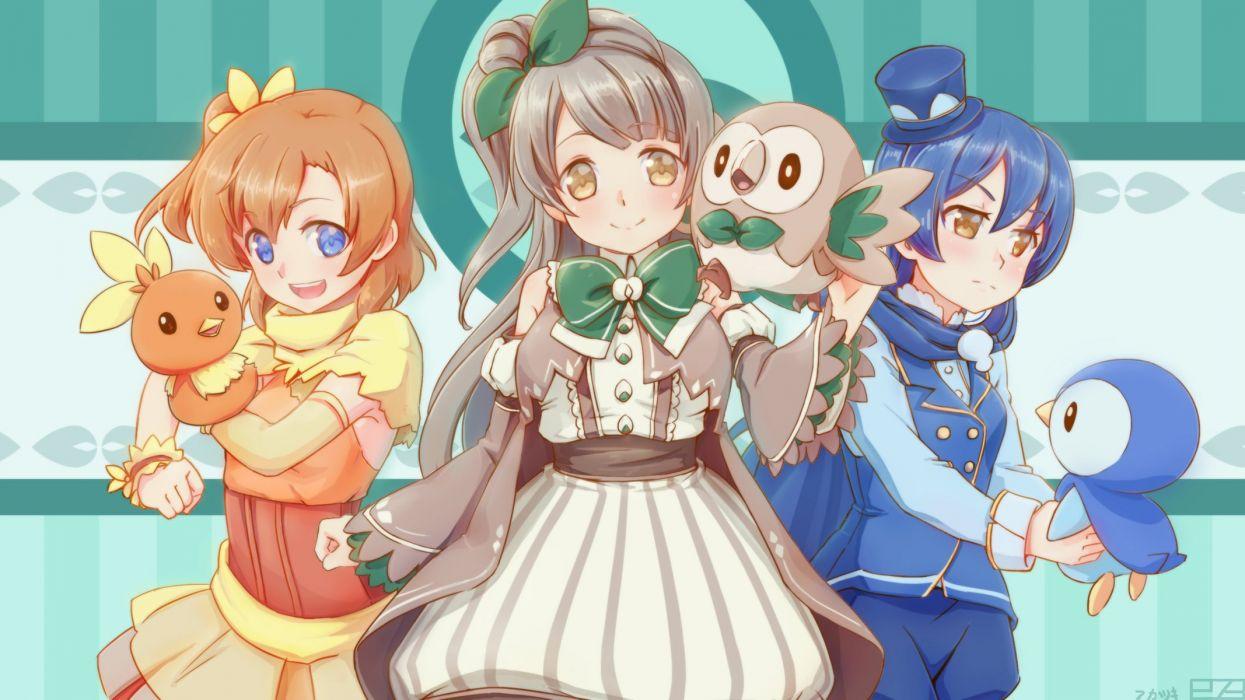 273akatsuki cosplay crossover kousaka honoka love live! school idol project minami kotori piplup pokemon rowlet sonoda umi torchic wallpaper