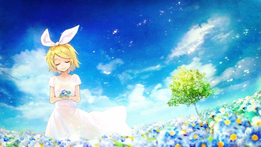 blonde hair clouds dress flowers kagamine rin short hair sky tree vocaloid yuranpo wallpaper