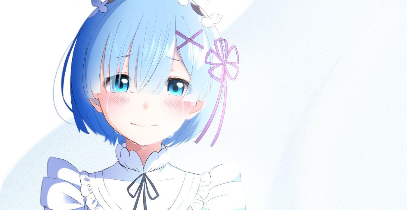 blue eyes blue hair blush close gradient rem (re-zero) re-zero kara hajimeru isekai seikatsu ribbons short hair tears wallpaper