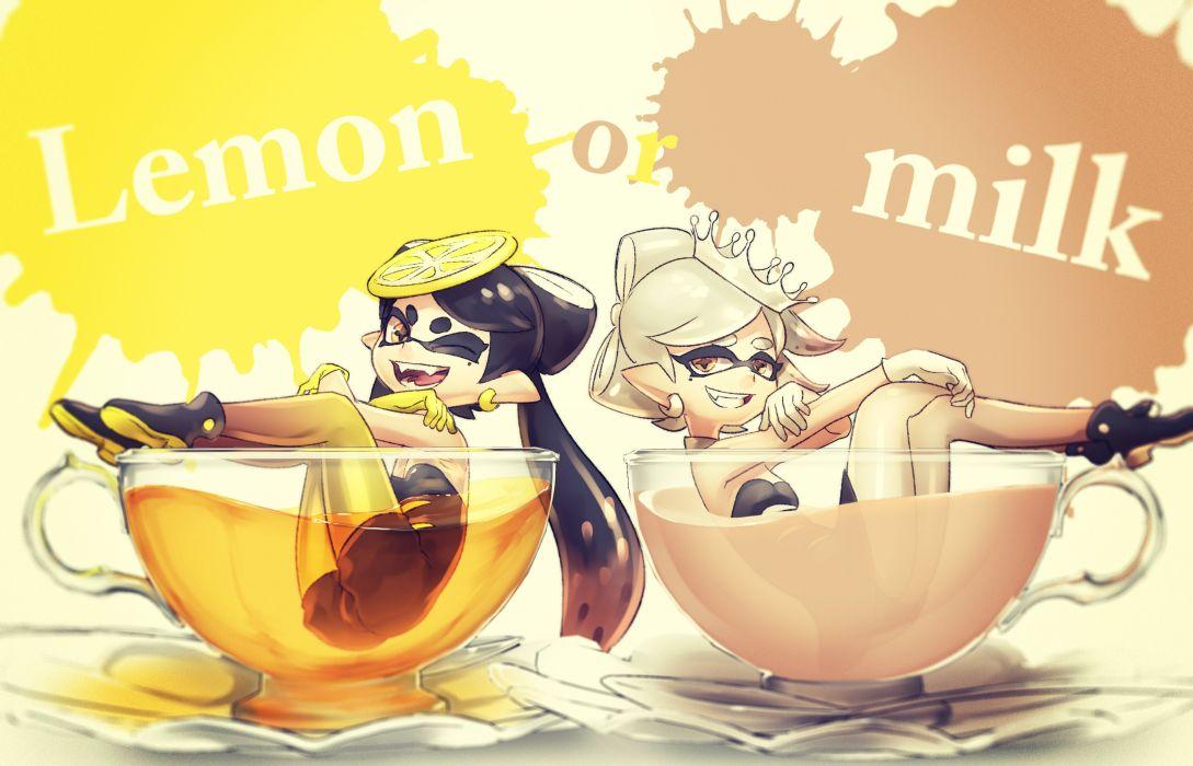 girls aori (splatoon) crown drink hotaru (splatoon) puchiman splatoon wink wallpaper
