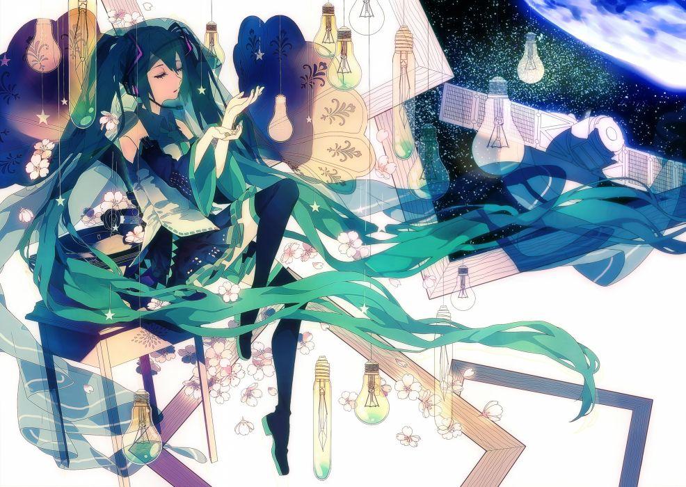 Vocaloid Hatsune Miku Hanging Star Thigh Boots Sleeveless Shirt wallpaper