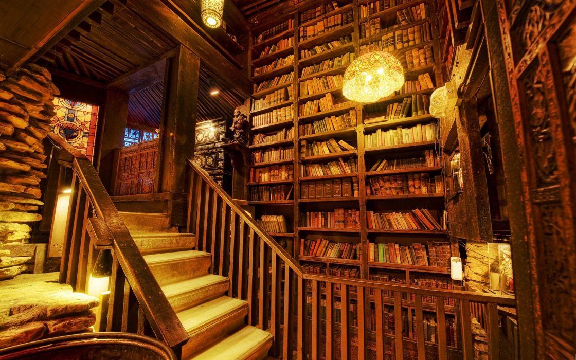 interiot biblioteca libros estanterias wallpaper