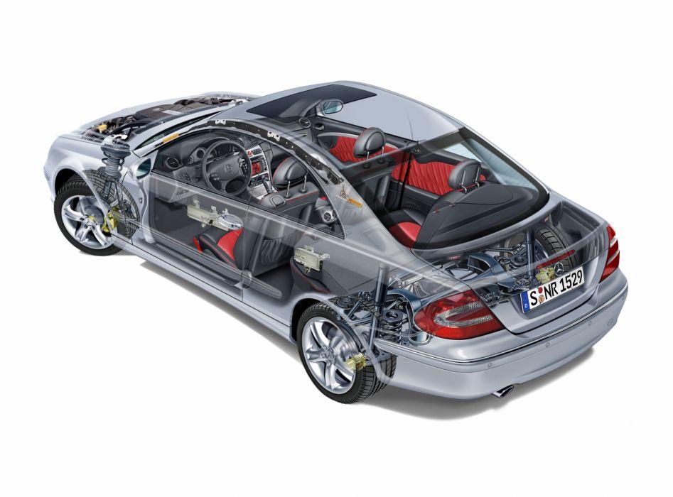 Mercedes Benz CLK 500 (C209) cars cutaway 2002 wallpaper