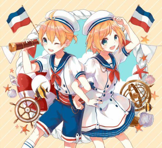 Vocaloid Kagamine Len Kagamine Rin Blue Shorts Flag wallpaper