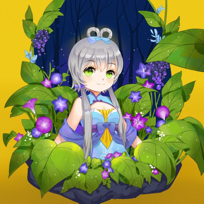 Vocaloid Luo Tianyi Hair Rings Waist Up Morning Glory wallpaper