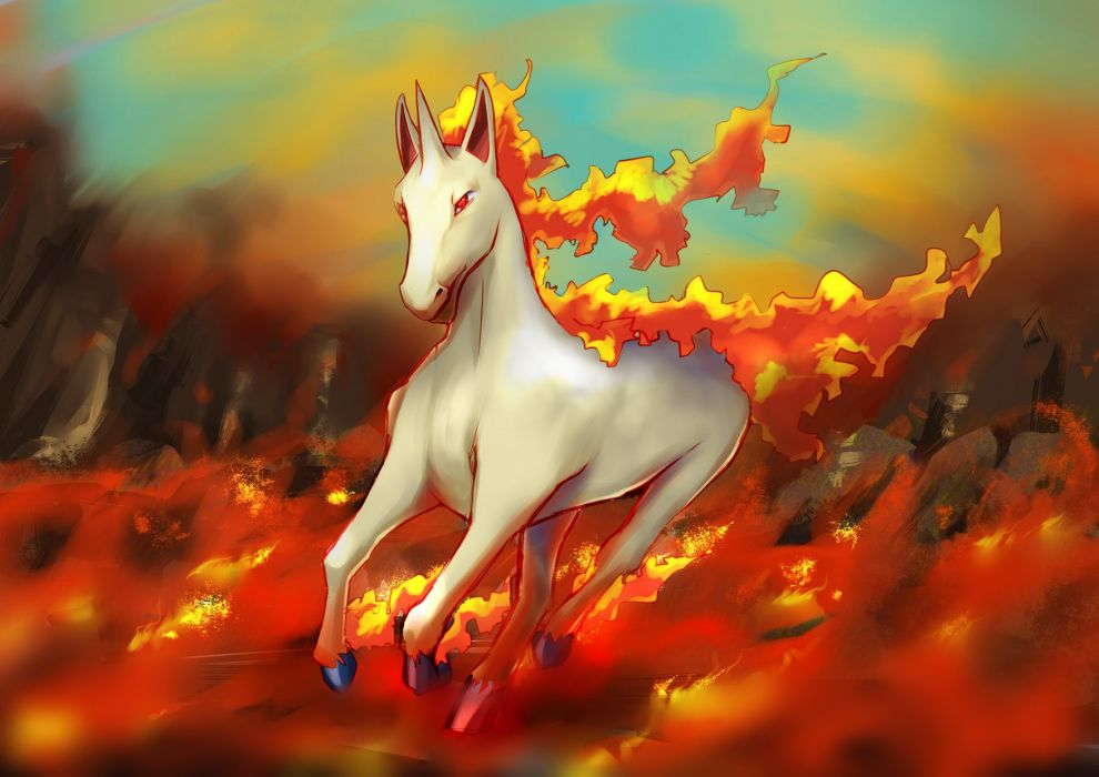 Pokemon Rapidash Fire Horse Running wallpaper