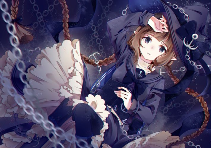 Oounabara to Wadanohara Wadanohara Sailor Collar Laying on Back Expressionless wallpaper