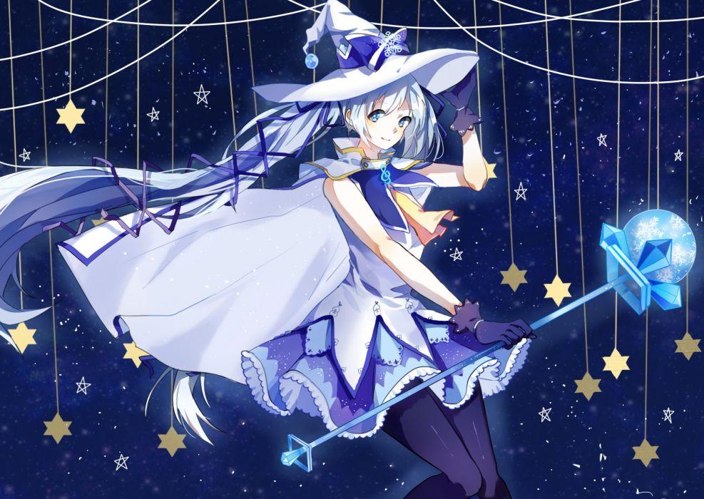 Vocaloid Hatsune Miku Hat Bow Blue Handwear Snowflakes wallpaper