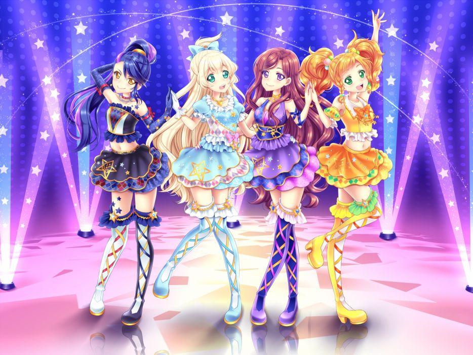 Shirato Sayuri Aikatsu Stars! Shiratori Hime Kasumi Yozora Nikaidou Yuzu Kisaragi Tsubasa wallpaper