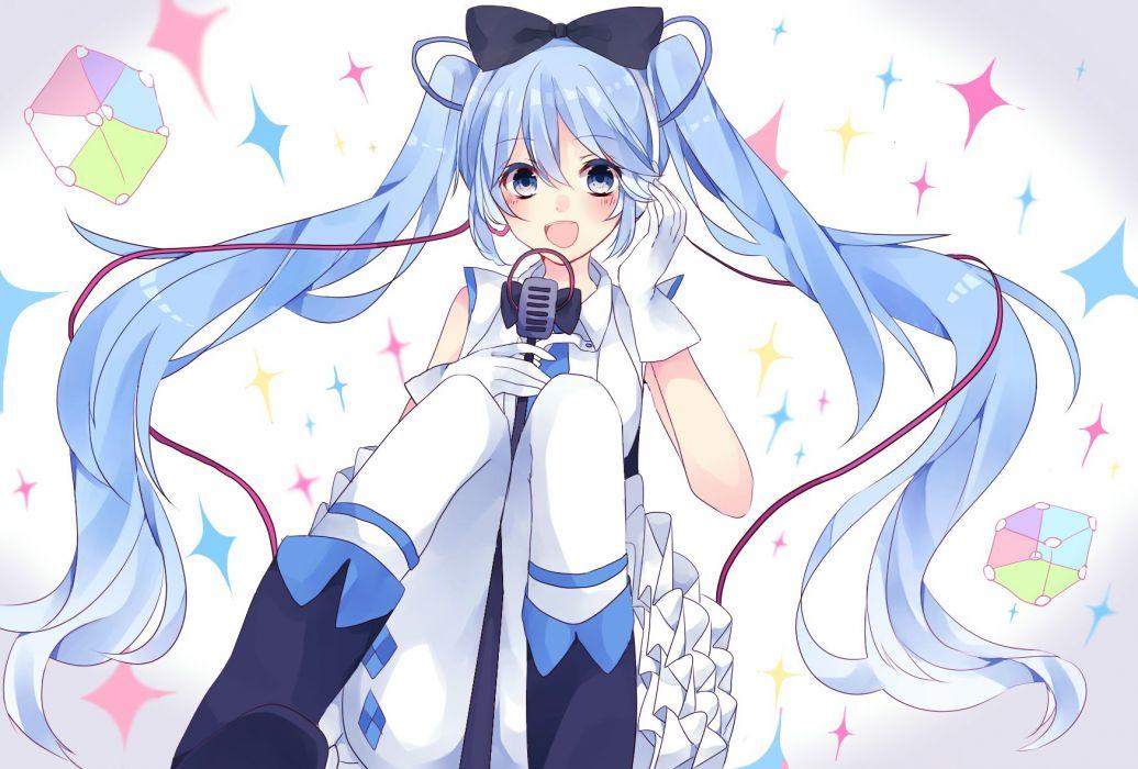Vocaloid Hatsune Miku Wires Gradient Background Frilly Dress wallpaper