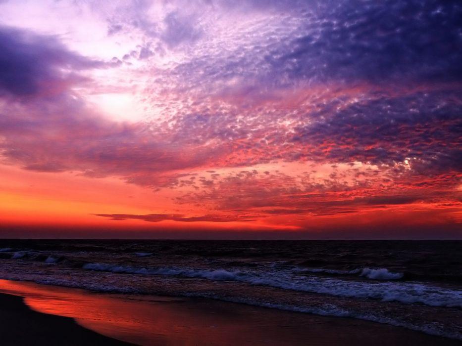 beach sea ocean beauty sky cloud sunset red wallpaper