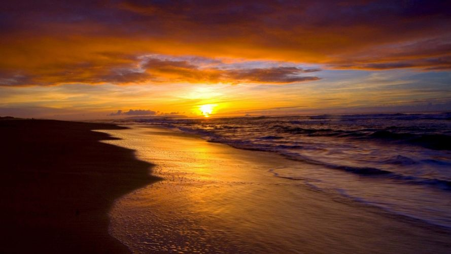 beach sea ocean beauty sky cloud sunset wallpaper