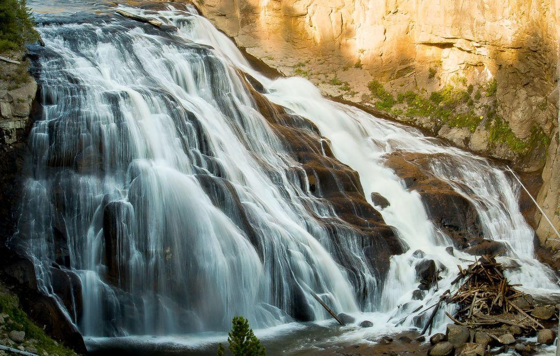 waterfall rock water wallpaper