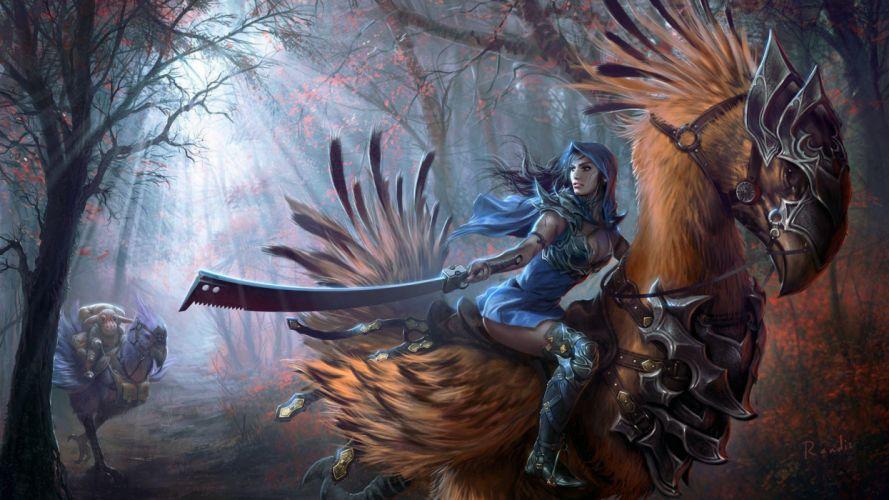 ave mujer espada fantasia wallpaper