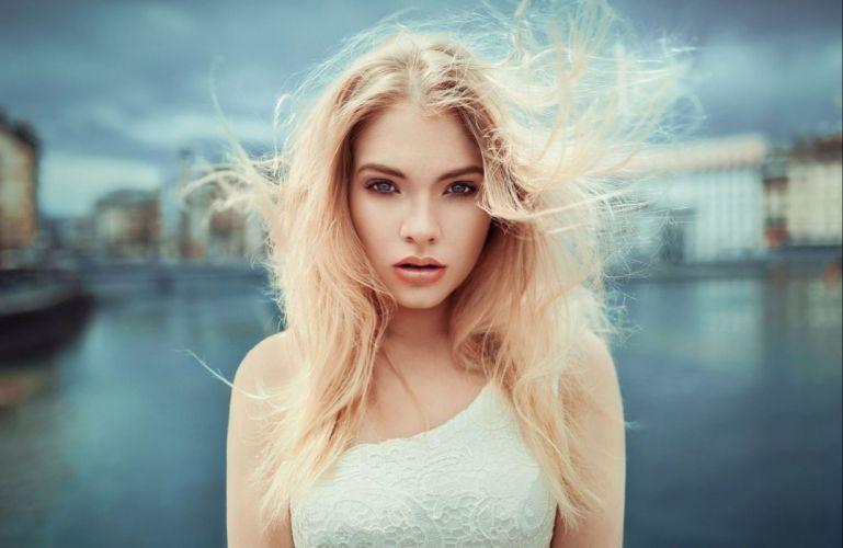 beautiful girl female women woman sexy babe model blonde face hair g wallpaper
