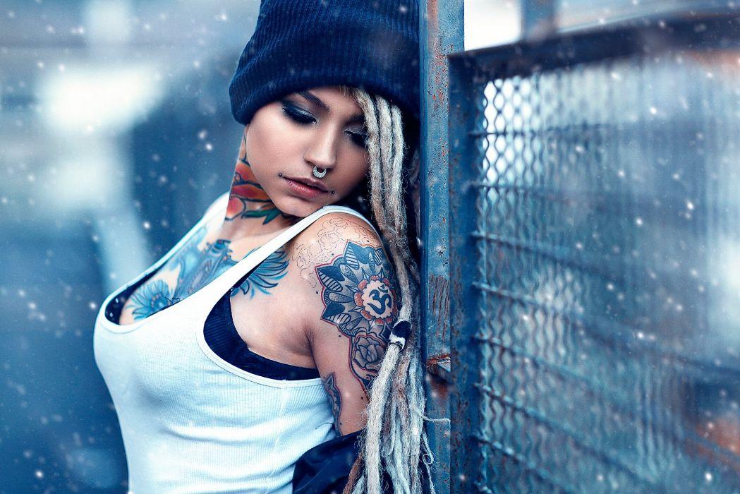 beautiful girl female women woman sexy babe model adult blonde tattoo h wallpaper