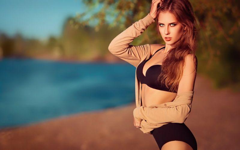 beautiful girl female women woman sexy babe model adult redhead bikini g wallpaper