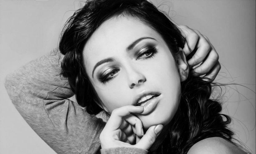 beautiful girl female women woman sexy babe model brunette face d wallpaper