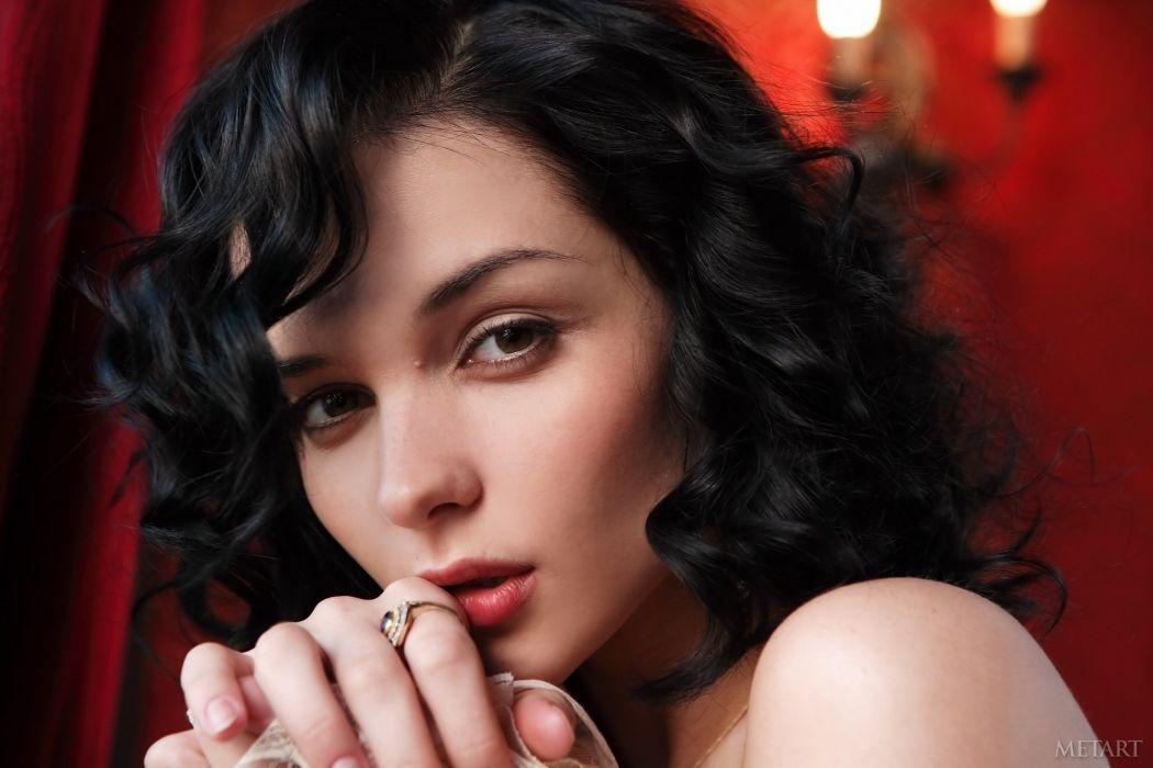 beautiful girl female women woman sexy babe model adult brunette face g wallpaper