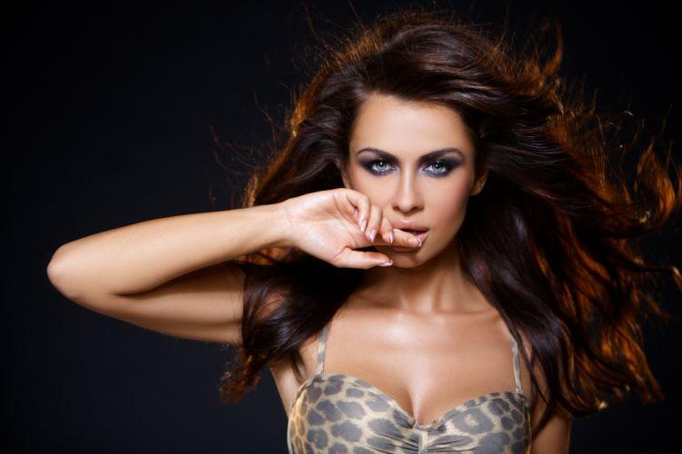 beautiful girl female women woman sexy babe model adult brunette face hair f wallpaper