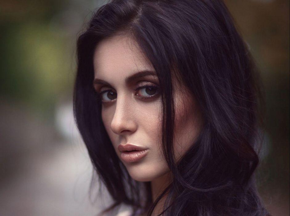 beautiful girl female women woman sexy babe model brunette face h wallpaper