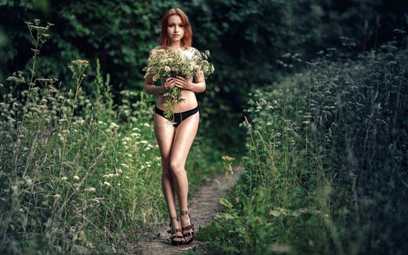 beautiful girl female women woman sexy babe model adult redhead bikini d wallpaper