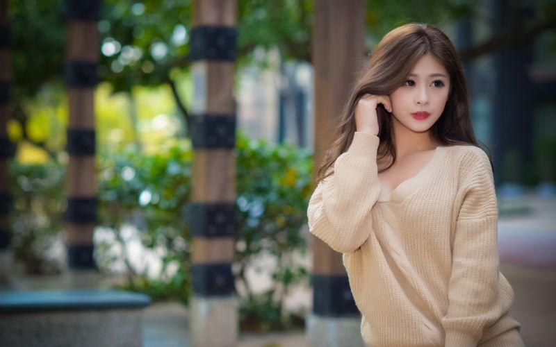 beautiful girl female women woman sexy babe model asian oriental brunette b wallpaper