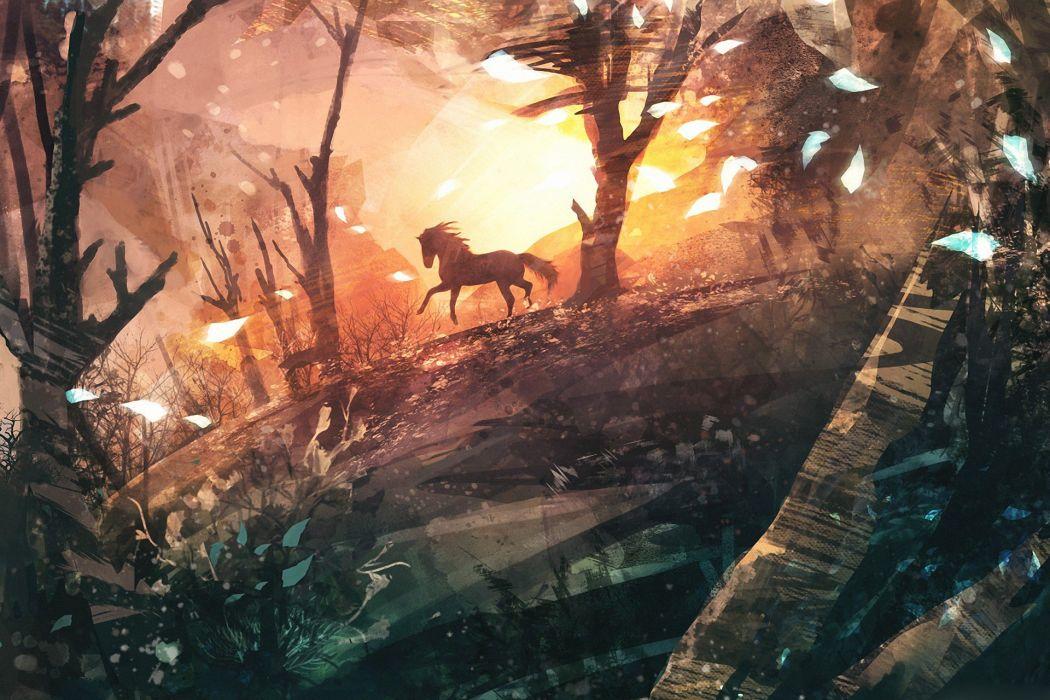 arte cuadro bosque caballo wallpaper