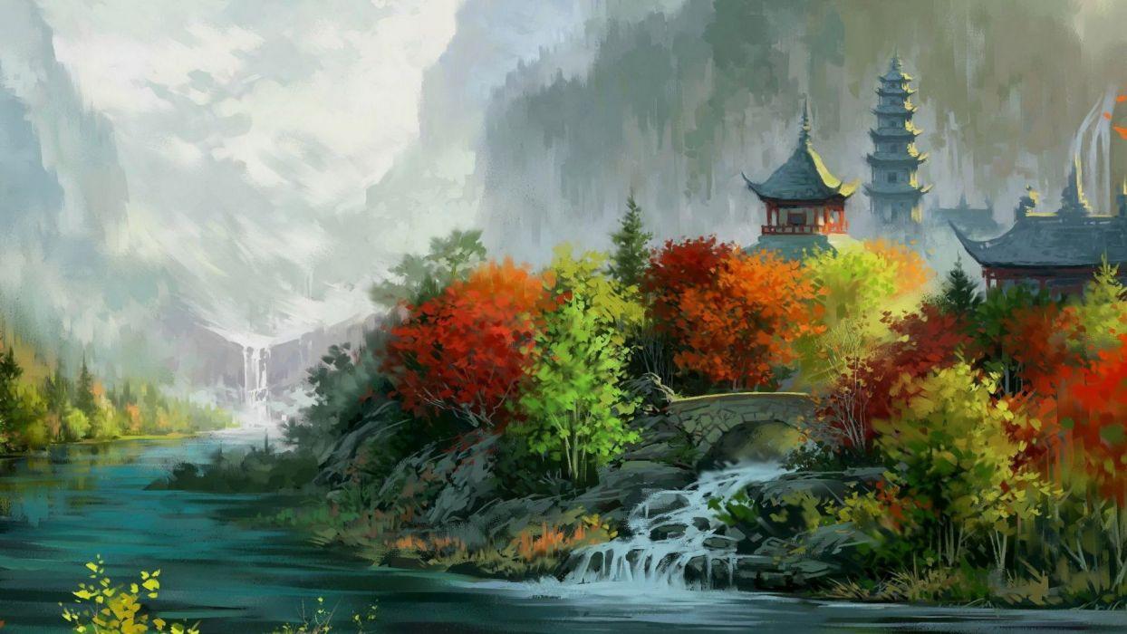 arte oleo cuadro paisaje wallpaper