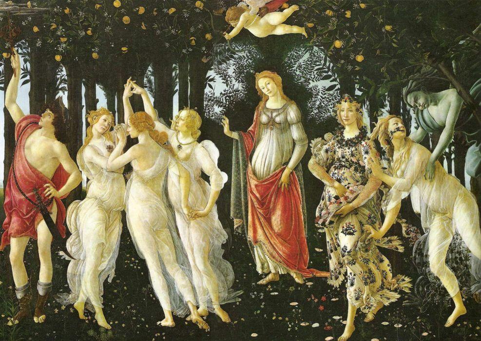 botticelli primavera pintura arte wallpaper