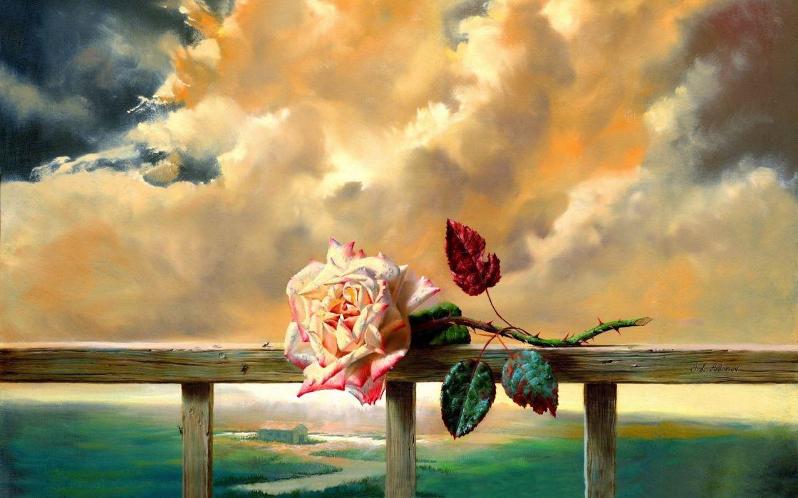 arte pintura rosa mar nubes wallpaper