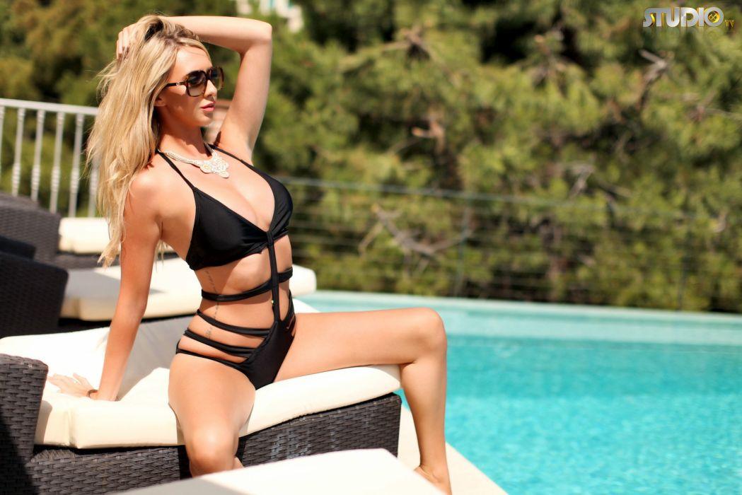 beautiful girl female women woman sexy babe model adult blonde bikini c wallpaper