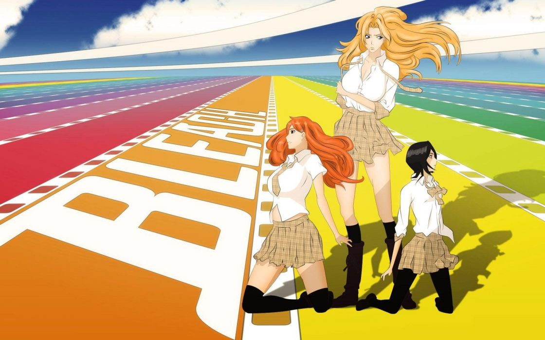 girls bleach shade pose wind anime series wallpaper