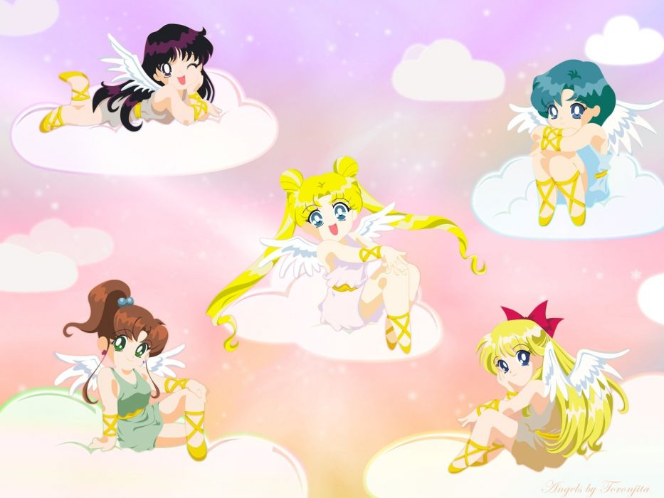 sailor moon girls clouds smiles angels wings wallpaper