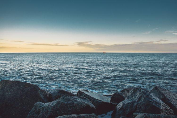 nature beauty sea stones boat horizon wallpaper